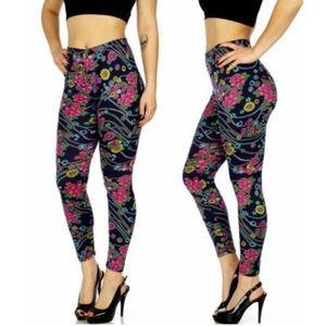 🆕⭐️ Navy Fuchsia Floral Leggings